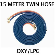 OXYGEN / LPG (15-Meter) TWIN GAS HOSE with Fittings