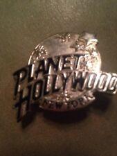 PLANET HOLLYWOOD NEW YORK PIN RARE SILVER Globe NY PINBACK Vintage 1990's
