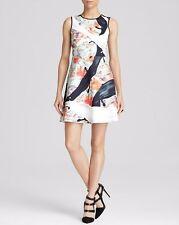 $282 Clover Canyon Spilled Milk & Tar Neoprene Fit & Flare Dress XS 0 2 NEW C387