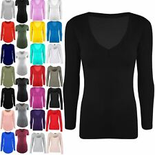 Womens V Neck Plain Casual Jersey Stretchy Ladies Long Sleeves Tunic T Shirt Top
