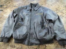 Snap On Tools Brown Leather Bomber Style Jacket with Quilted Lining -- Large