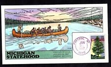 1987 #2246 22c Michigan Statehood Collins Hand Painted FDC