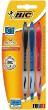 Bic atlantis retractable ball pen, set de 3 (noir, bleu, rouge) école bureau