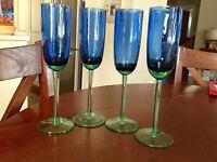 VTG. Cobalt Blue/Apple Green Crystal Champagne Flutes -set of 4