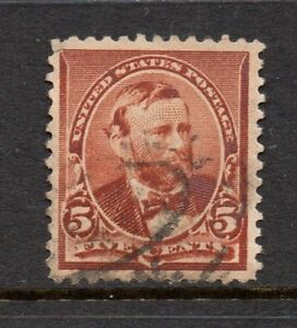 Scott # 223, Used, VF-XF, 5¢ Grant, 1890, Light Oval Cancel