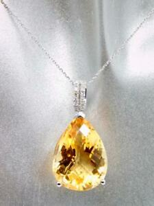 ELEGANT 14K WHITE GOLD 16.10CTW DIAMOND CITRINE PEAR PENDANT NECKLACE