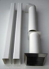 2m Flachkanal Komplettset Küche 150er Abluft Set mit Edelstahl Mauerkasten