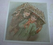 Two Antique Style Postcards Greeting Cards Boys Portrait Victorian Boy Cookie