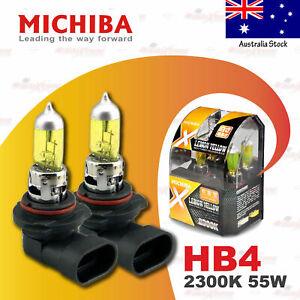 2x HB4 9006 MICHIBA 12V 55W Headlight Halogen Bulb Lamp Globe 2300K LEMON YELLOW