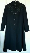 Womens 100% Lambswool coat black 42 Louis Feraud Paris vintage embellished
