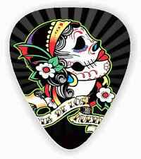 10 Black Sugar Skull ~ GUITAR PICKS ~ *Printed Both Sides*