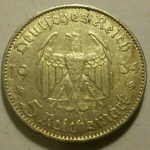 Germany Nazi 5 Reichsmark Church Swastika 1934 J .900 Silver 706