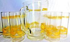 Vintage Rare Caisa Beverage Set - (6) Glasses (1) Pitcher #7505-376