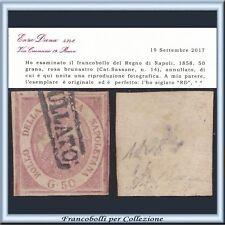 ASI 1858 Napoli 50 gr. rosa bruno n.14 Cert. Diena Usato Antichi Stati Italiani