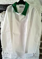 More details for white long sleeved bakers top / shirt with green collar – large
