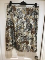 Jackport 100% Silk Lined Floral Patterned Beige & Earthy Tones A Line Skirt 44