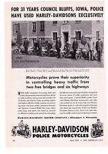 """1948 Vintage Harley Davidson Police Motorcycles """"Council Bluffs, IA """" Print Adv"""