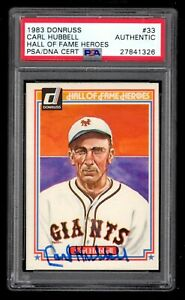 Carl Hubbell Signed 1983 Donruss Hall of Fame Heroes PSA/DNA Authentic/Slabbed