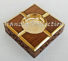 Vintage Wooden Brass Ashtray Cigar Cigarette Tobacco Wood Case Handmade Art