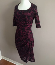 Maeve Anthro Women's Sz 2 Elorn Sheath Dress Red & Black Lace Side Ruched