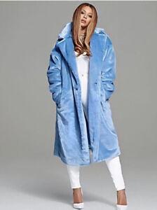 New Beyonce Ivy Park Icy Park Adidas Faux Fur Coat Blue Unisex 😍 Size Large