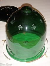 Very Large Vintage Cloche Green Glass Possible Chandelier Dome? Star Pattern