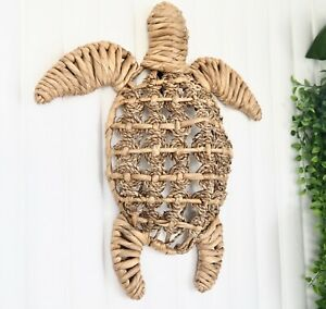 Handwoven Natural Seagrass Turtle Hanging Wall Art Hamptons Coastal Home Decor
