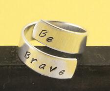 Be Brave Wrap Ring Inspirational Adjustable Twist Aluminum Ring Handstamped Ring