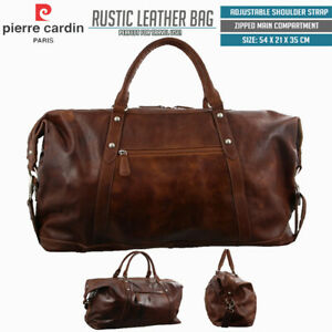 Pierre Cardin Rustic Leather Travel Business Trip Bag Overnight - Cognac