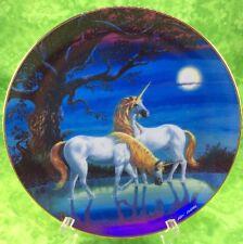 Fantasyland Unicorn Danbury Mint Plate Moonlight Reflections 1993 Horse Lake