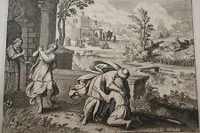 GRAVURE SUR CUIVRE L'ENFANT PRODIGUE-BIBLE 1670 LEMAISTRE DE SACY (B213)