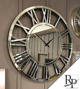 Mirrored WALL CLOCK LARGE 80cm Roman Numeral Silver Finish Modern Decorative