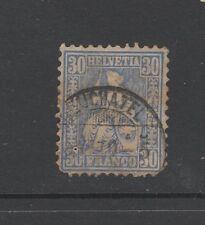 "SWITZERLAND EARLY (1862 Issue) 30 BLUE Used With ""NEUCHATEL"" Postmark"