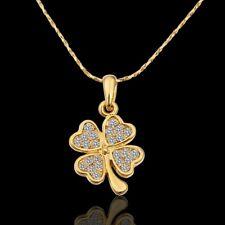 ASAMO Damen Halskette mit Kleeblatt Anhänger und Zirkonia Steinen Glücksbringer