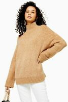 Topshop Camel Knitted Super Soft Funnel Neck Sweater Size 12 New with Tags