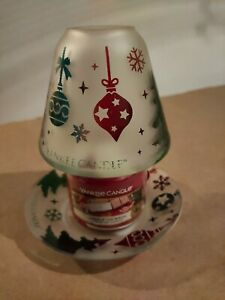 YANKEE CANDLE HOLDER SMALL SHADE AND TRAY CHRISTMAS DECK THE HALLS
