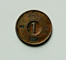 1955 SWEDEN Gustaf VI Adolf Coin - 1 Ore - tiny 15mm size