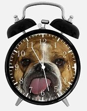 "Cute English Bull Dog Alarm Desk Clock 3.75"" Home or Office Decor E125 Nice Gift"