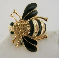 "Joan Rivers Crystal Bee Pin   1""  Champagne"