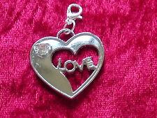 Charms Anhänger Dangle Herz Love mit Strass für Armband oder Kette