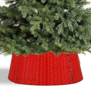 Large Red Wicker Christmas Tree Skirt Xmas Stand Cover Decoration Basket Decor