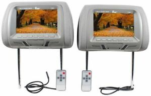 "Tview T726PL-GR 7"" Grey Pair (2) LCD Car Headrest TV Monitor w/ IR Transmitter"