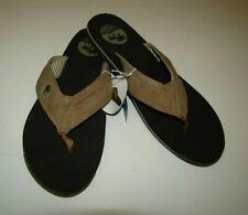 MARGARITAVILLE Mens Light Tan Leather Flip Flops Size 11 Sandals -NEW w/tags