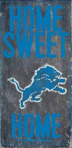 """Detroit Lions Home Sweet Home Wood Sign - NEW 6"""" x 12"""" Wall Decoration Gift"""