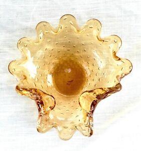 Vintage Hand Blown Amber Bullicante/Bubble Murano Glass Ashtray/Bowl