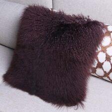 Handmade Mongolian Lamb Fur Pillowcase Brown Fur Seat Cushion Cover home decor
