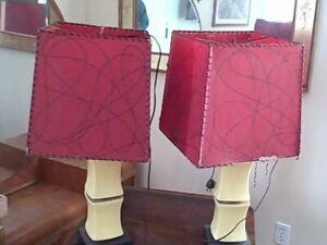 Vintage Mid Century Modern Table Lamp Pair Studio Pottery  jackson pollack