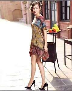 Sexy Women Bohemian Dresses Neck Tie Vintage Printed Ethnic Style Summer Dresses
