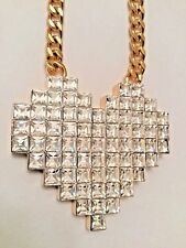 JUICY COUTURE ABSTRACT PIXEL 70 SQUARE CUT CRYSTALS LOVE HEART NECKLACE NWT $98
