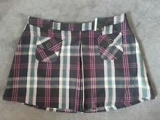 Ladies Mini Skirt Tartan Check Short Red Black Turquoise Grunge Emo Punk 16
